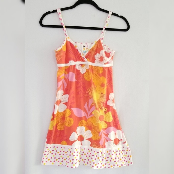 Roxy Dresses & Skirts - Roxy Floral Orange Pink Spaghetti Strap Dress